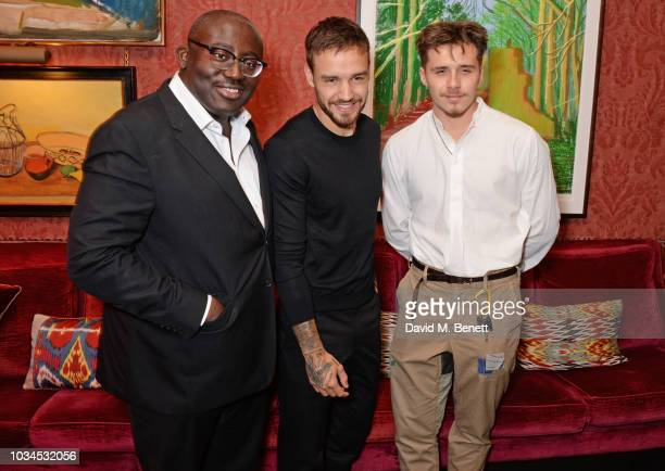 Edward Enninful Liam Payne and Brooklyn Beckham attend as Edward Enninful David Beckham and British Vogue celebrate the 10th anniversary of Victoria...