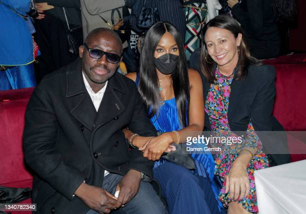Edward Enninful Naomi Campbell and Caroline Rush attend the LFW opening night party at The Windmill on September 16, 2021 in London, England.