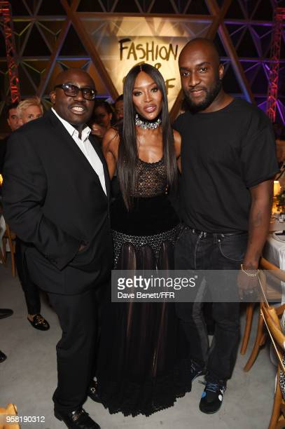 Edward Enninful Naomi Campbell and Virgil Abloh attend Fashion for Relief Cannes 2018 during the 71st annual Cannes Film Festival at Aeroport Cannes...