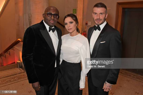 Edward Enninful, Victoria Beckham and David Beckham attend The Portrait Gala 2019 hosted by Dr Nicholas Cullinan and Edward Enninful to raise funds...