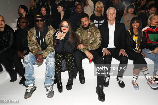 Edward Enninful, Virgil Abloh, Rosalia, Drake, John Donahoe and Gabby Douglas attend the 2020 Tokyo Olympic collection fashion show at The Shed on...