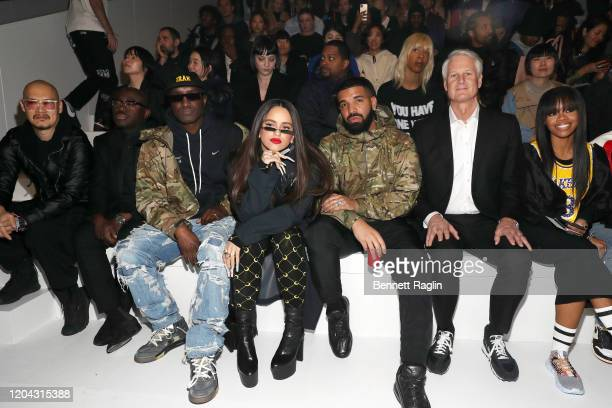 Edward Enninful Virgil Abloh Rosalia Drake John Donahoe and Gabby Douglas attend the 2020 Tokyo Olympic collection fashion show at The Shed on...