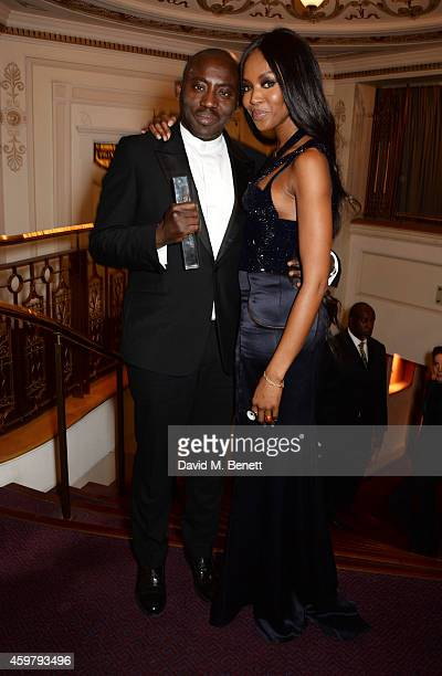 Edward Enninful winner of the Isabella Blow Award for Fashion Creator and Naomi Campbell attend the British Fashion Awards at the London Coliseum on...