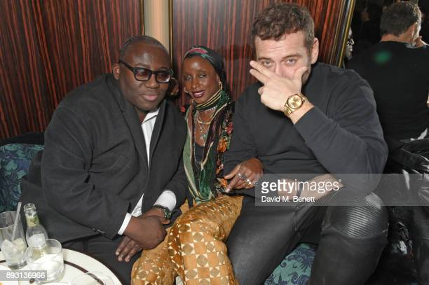 Edward Enninful Zoe Bedeaux and Mert Alas attend an after party celebrating the FENDI Sloane Street Boutique opening at Isabel on December 14 2017 in...