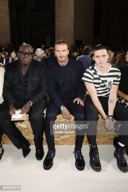Edward Enningful David Beckham and Brooklyn Beckham attend the Victoria Beckham show on September 10 2017 in New York City