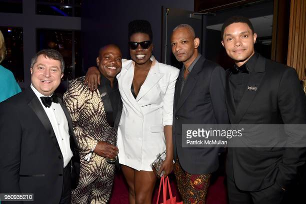 Edward Felsenthal, Kehinde Wiley, Leslie Jones, Ryan Keith Jackson, and Trevor Noah attend the 2018 TIME 100 Gala at Jazz at Lincoln Center on April...