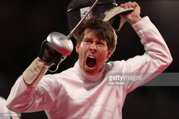Edward Fernon of Team Australia celebrates during the Fencing Ranked Round of the Men's Modern Pentathlon on day thirteen of the Tokyo 2020 Olympic...