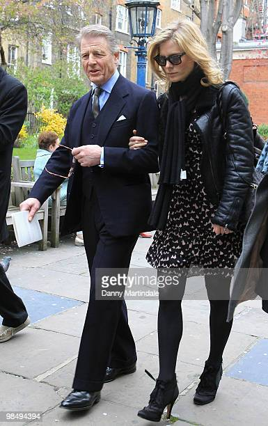 Edward Fox and Emilia Fox attend the funeral of Christopher Cazenove held at St Paul's Church in Covent Garden on April 16 2010 in London England