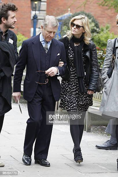 Edward Fox and Emilia Fox attends the funeral of Christopher Cazenove at St Paul's Church Actor's Church Covent Garden on April 16 2010 in London...