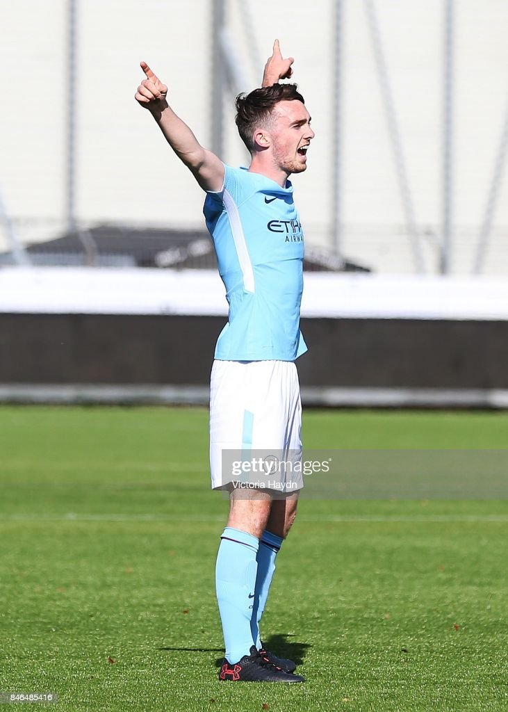 Edward Francis of Manchester City celebrates the second goal of the match during the UEFA Youth Champions League group F match between Feyenoord and Manchester City on September 13, 2017 in Rotterdam, Netherlands.