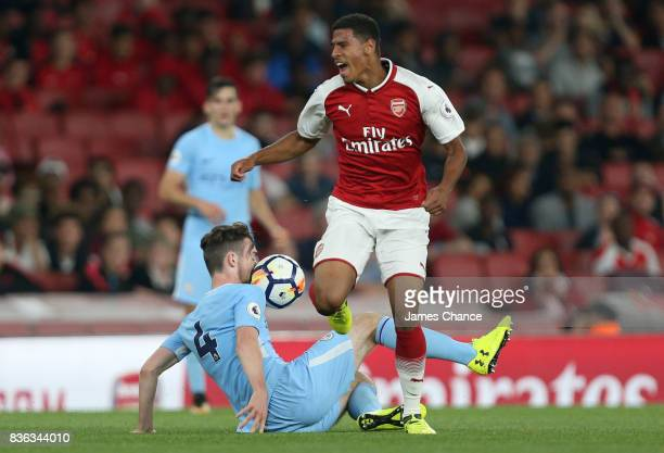 Edward Francis of Manchester City fouls Demeaco Duhaney of Arsenal during the Premier League 2 match between Arsenal v Manchester City at Emirates...