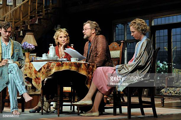 Edward Franklin as Simon Bliss, Felicity Kendal as Judith Bliss, Simon Shepherd as David Bliss and Alice Orr-Ewing as Sorel Bliss in Noel Coward's...