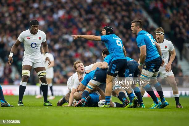 Edward Gori of Italy calls for a team mate during the RBS 6 Nations match between England and Italy at Twickenham Stadium on Sunday the 26th of...