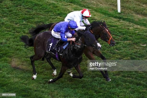 Edward Greatrex riding Burj ein The Call Star Sports On 08000 521321 Novice Stakes at Brighton Racecourse on July 10 2018 in Brighton United Kingdom