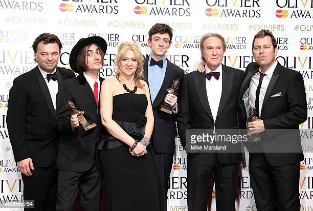Edward Hall George Maguire Sonia Friedman John Dagleish Ray Davies and Joe Penhall pose in the winners room at The Olivier Awards at The Royal Opera...
