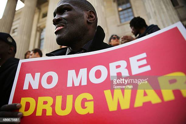 Edward Harris, who spent time in jail for a minor drug possession, attends a rally outside Brooklyn borough hall in support of the district...