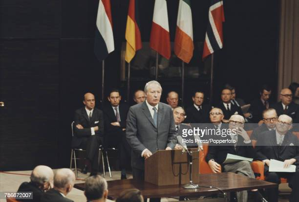 Edward Heath Prime Minister of the United Kingdom makes a speech after signing the accession treaty for the United Kingdom to join the European...