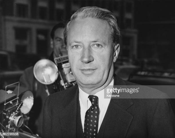 Edward Heath the Minister of Labour arrives at the Ministry of Labour in London to meet with union officials in an attempt to avert the threatened...