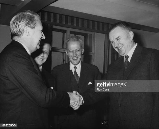 Edward Heath the Trade Secretary and President of the Board of Trade shakes hands with Piotr Jaroszewicz the deputy Prime Minister of Poland at the...