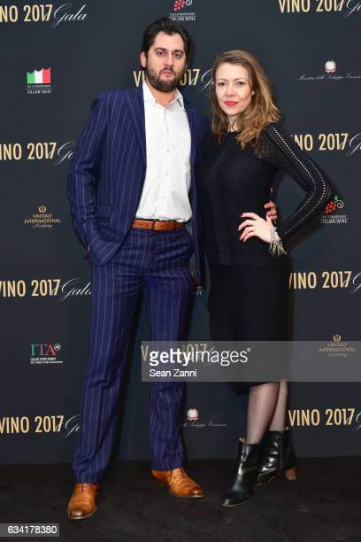 Edward Hertzman and Alexandra D'Archangelo attend VINO 2017 Gala Presented by the Italian Trade Commission at Spring Studios on February 6 2017 in...