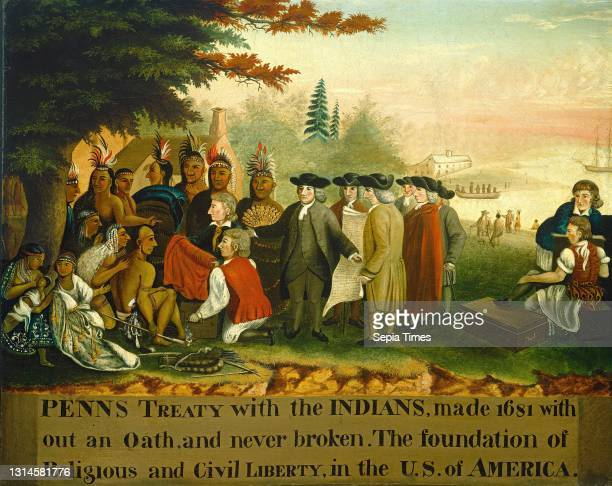 Edward Hicks, , American, 1780 - 1849, Penn's Treaty with the Indians, c. 1840/1844, oil on canvas, overall: 61.7 x 76.5 cm , framed: 67.6 x 82.9 x...
