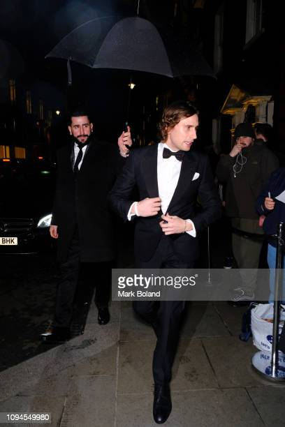 Edward Holcroft attends the dunhill Pre-BAFTA dinner at dunhill Bourdon House on February 6, 2019 in London, England. )