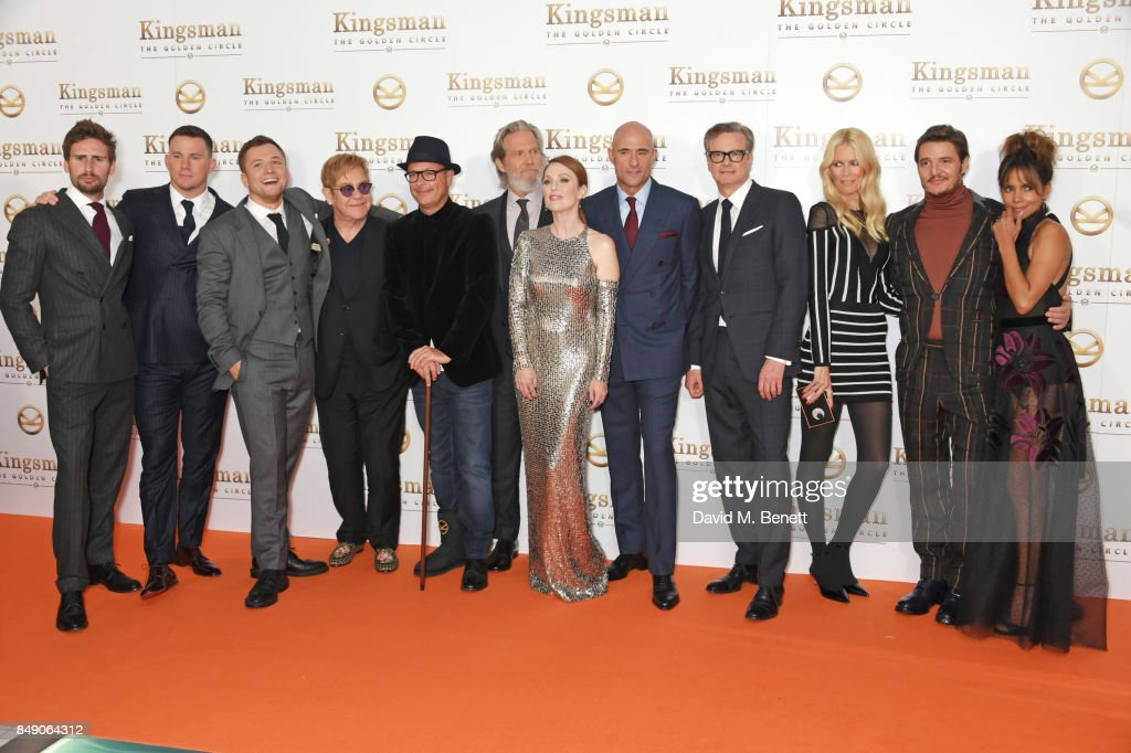 Edward Holcroft, Channing Tatum, Taron Egerton, Sir Elton John, director Matthew Vaughn, Jeff Bridges, Julianne Moore, Mark Strong, Colin Firth, Claudia Schiffer, Pedro Pascal and Halle Berry attend the World Premiere of 'Kingsman: The Golden Circle' at Odeon Leicester Square on September 18, 2017 in London, England.
