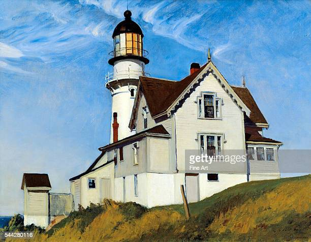 Edward Hopper Captain Upton's House oil on canvas 28 x 36 in showing the Two Lights Lighthouse in Cape Elizabeth Maine private collection