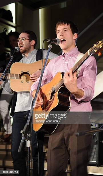 Edward Ibbotson, and Sam Fry of the band Life In Film perform during the VOGUE Fashion's Night Out at the Burberry boutique on September 09, 2010 in...