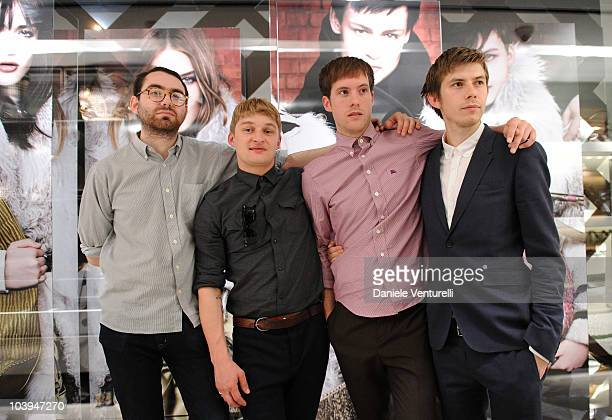 Edward Ibbotson, Dominic Sennet, Sam Fry and Micky Osment of the band Life In Film pose during the VOGUE Fashion's Night Out at the Burberry boutique...