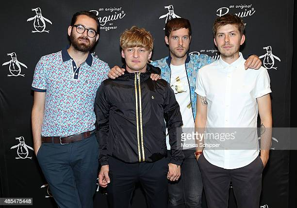 Edward Ibbotson, Dominic Sennett, Sam Fry and Micky Osment of the band Life In Film attend the Original Penguin 60th anniversary party at Original...