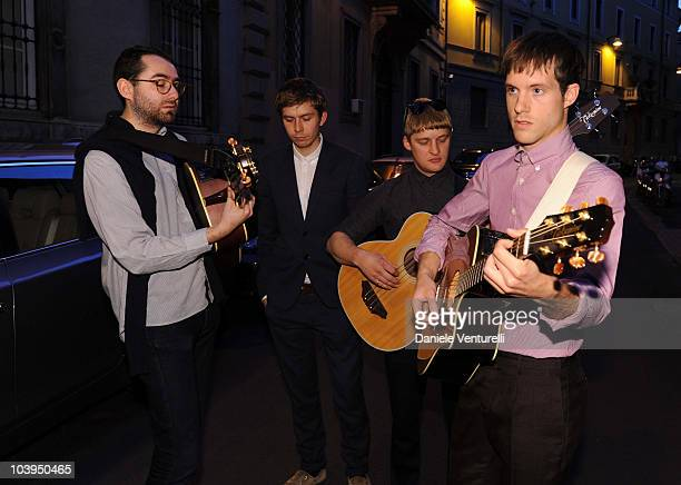 Edward Ibbotson, Micky Osment, Dominic Sennet and Sam Fry of the band Life In Film perform during the VOGUE Fashion's Night Out at the Burberry...