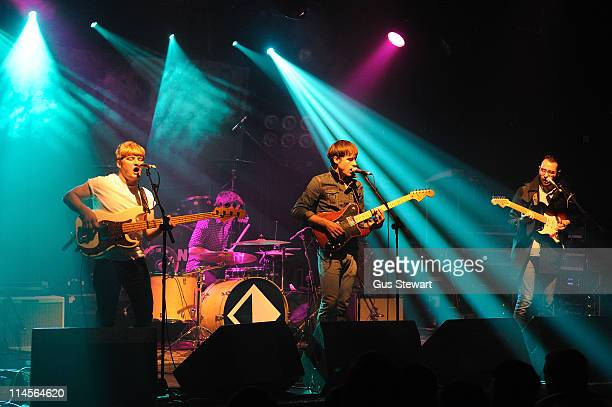 Edward Ibbotson, Micky Osment, Samuel Fry and Dominic Sennett of Life in Film perform on stage as an opening act for Mona at Electric Ballroom on May...