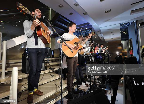 Edward Ibbotson, Sam Fry, Micky Osment and Dominic Sennet of the band Life In Film perform during the VOGUE Fashion's Night Out at the Burberry...