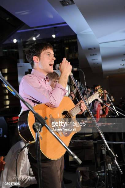 Edward Ibbotson singer of the band Life In Film performs during the VOGUE Fashion's Night Out at the Burberry boutique on September 09, 2010 in...