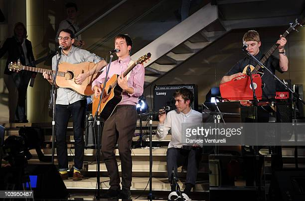 Edward Ibbotson,Sam Fry, Micky Osment and Dominic Sennet of the band Life In Film perform during the VOGUE Fashion's Night Out at the Burberry...
