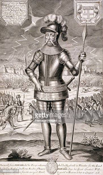 Edward III King of England c1350 King Edward III is clad in armour and holding a spear in his left hand A representation of the French and English...