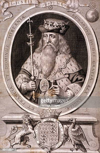Edward III King of England c1370 King Edward III is wearing robes a crown placed over a hat the badge of the Order of the Garter and a jewelled chain...