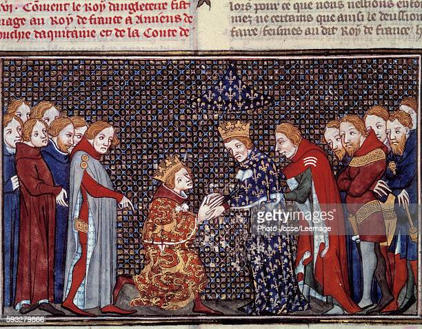 Edward III king of England paying homage to Philip VI of Valois king of France 1330 Miniature from Les Grandes Chroniques de France by Jean Fouquet...