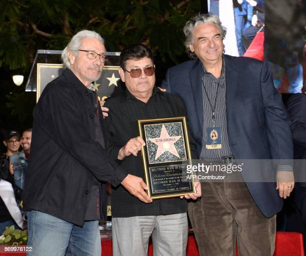Edward James Olmos Abraham Quintanilla Jr and Gregory Nava attend the ceremony honoring singer Selena Quintanilla with a Star on the Hollywood Walk...