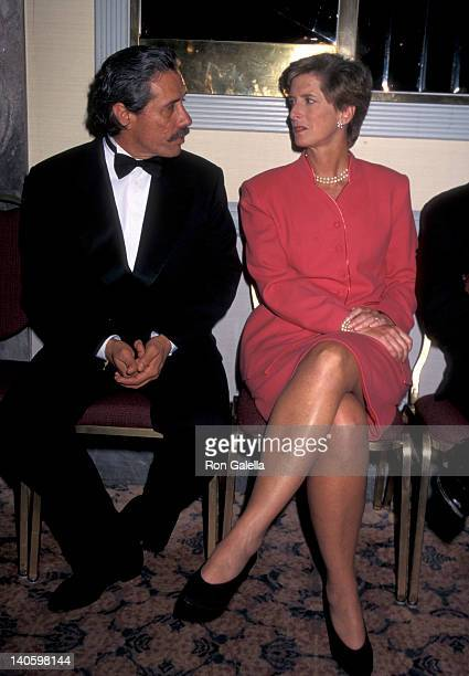 Edward James Olmos and Chrstine Whitman at the 1996 Overcoming Obstacles Achievement Awards, New York Hilton Hotel, New York City.