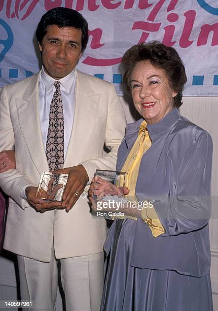 Edward James Olmos and Fay Wray at the 1989 Women In Film Awards Century Plaza Hotel Century City