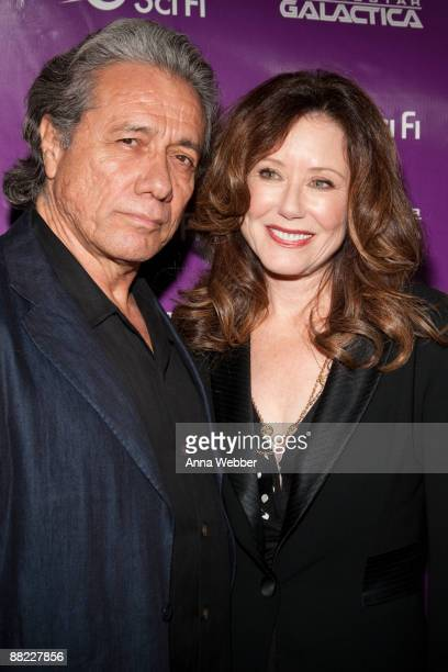 """Edward James Olmos and Mary McDonnell arrive at The Envelope Screening Series' Panel Discussion of """"Battle Star Galactica"""" at Mann Chinese 6 on June..."""
