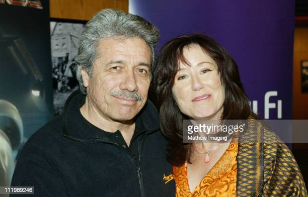 Edward James Olmos and Mary McDonnell during 'Battlestar Galactica' Los Angeles Premiere at The Directors Guild of America in Los Angeles California...