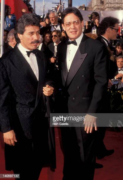 Edward James Olmos and Raul Julia at the 63rd Annual Academy Awards Shrine Auditorium Los Angeles