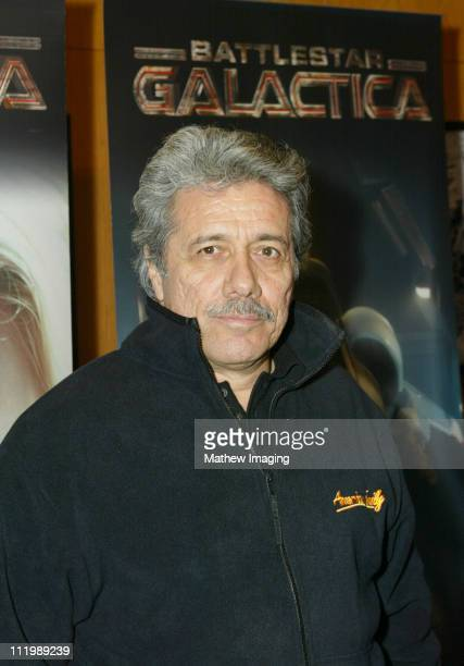 Edward James Olmos during Battlestar Galactica Los Angeles Premiere at The Directors Guild of America in Los Angeles California United States