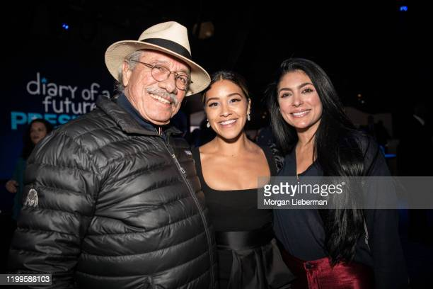 """Edward James Olmos, Gina Rodriguez and Vanessa Lyon arrive at the Disney +'s """"Diary Of A Future President"""" after party on January 14, 2020 in..."""