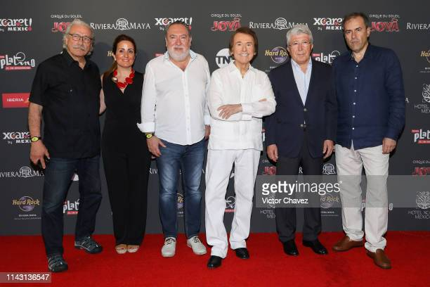Edward James Olmos guest Adrian Solar Spanish singer and actor Raphael and President of EGEDA Enrique Cerezo and Miguel Angel Benzal attend a...