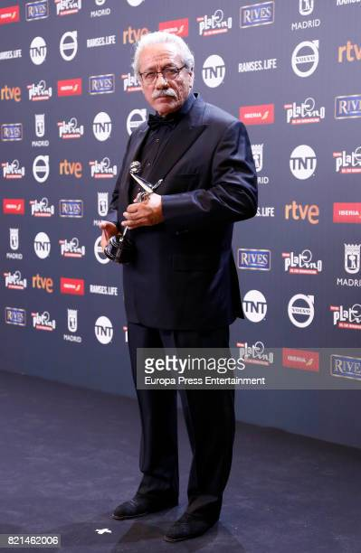 Edward James Olmos is seen at Platino Awards winners press room at La Caja Magica on July 22 2017 in Madrid Spain