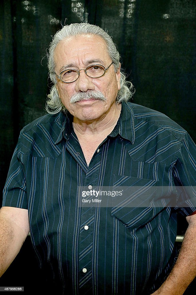 Edward James Olmos poses in between meeting with fans during the Alamo City Comic Con at Henry B. Gonzalez Convention Center on September 12, 2015 in San Antonio, Texas.